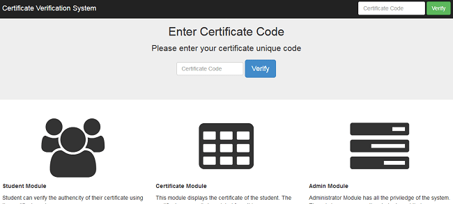 Web-based university certificate verification system (PHP source codes)