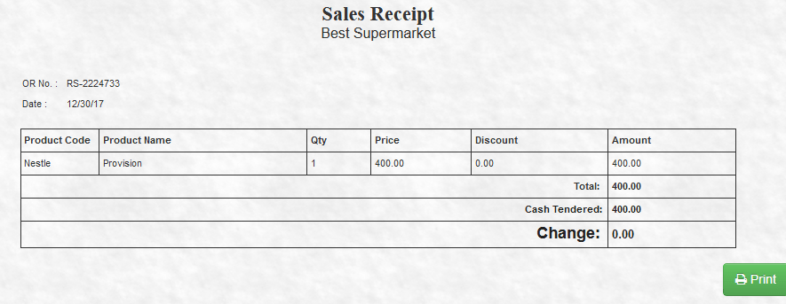 Cash receipt generating system (PHP source codes)