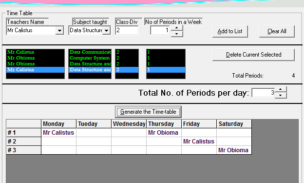 Time table generating system