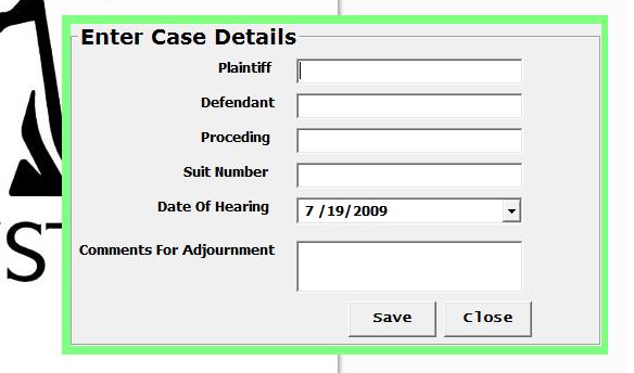 Court case scheduling system
