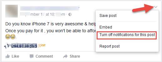 Turn Off comment notifications for individual and group messages/posts on Facebook