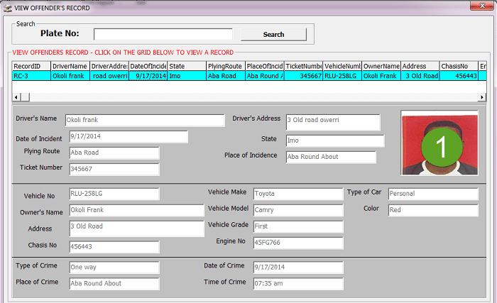Traffic offence documentation system