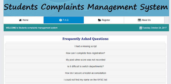 Online Student Complaints Management System Php Source Codes
