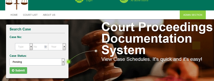 Web-based court case management system (PHP source codes)