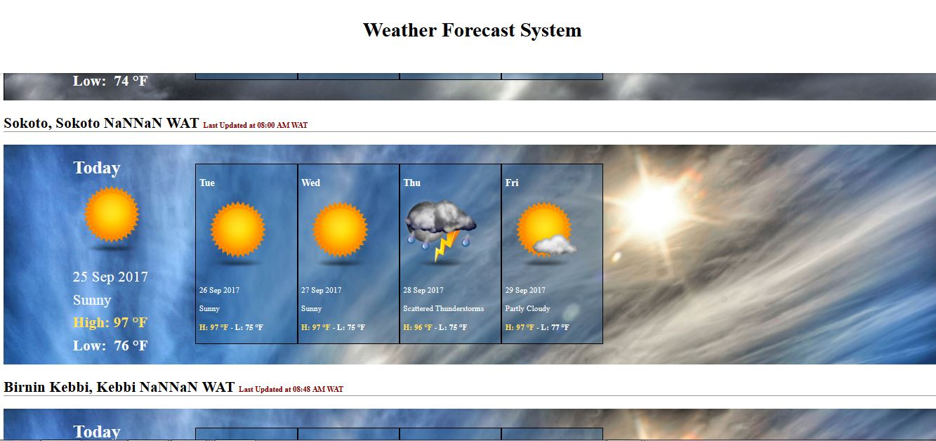 Weather forecast system (PHP source codes)