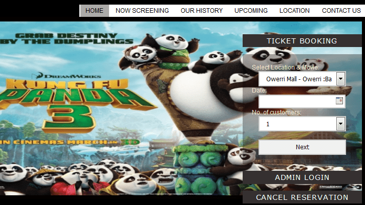 Cinema booking system (PHP source codes)