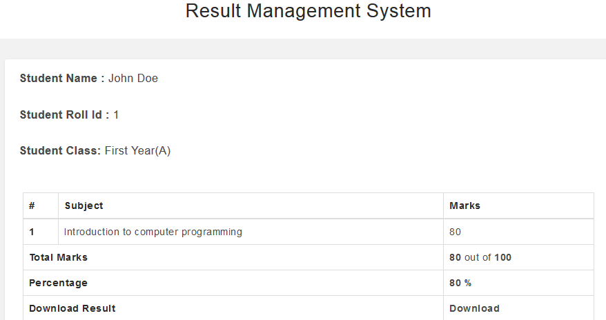 Online students result processing management system (free php source codes)