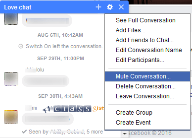 Mute a group chat conversation on Facebook